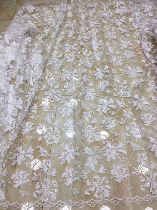 Glittery African Lace Fabric 2018 High Quality Lace Sequins Embroidery white Tulle French Lace Fabric For Wedding Lace TS7104