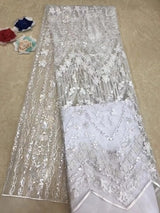Glittery African Lace Fabric High Quality Embroidery African Tulle Lace Fabric Sequin French Net Lace For Wedding dress TS7540