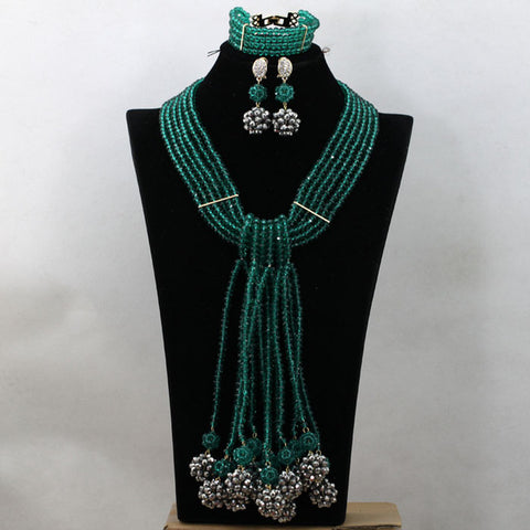 Gold Bridal Beads African Fashion Crystal Jewelry Set Green Coral Beads Pendant Necklace Set Free Shipping WD720