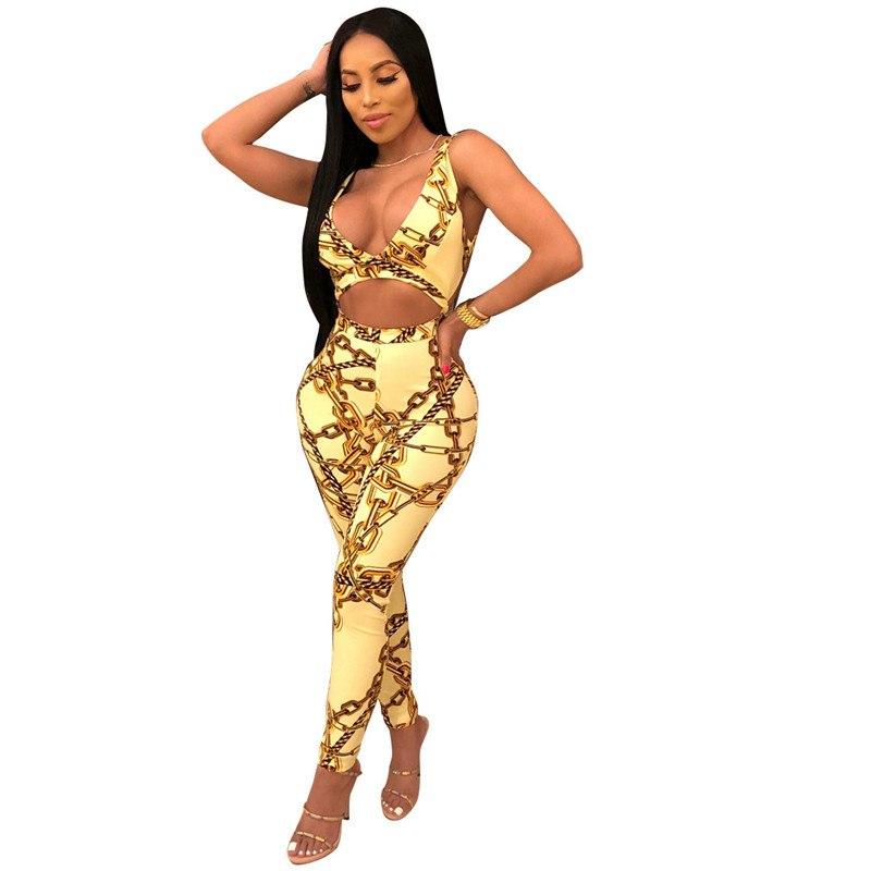 d7ad43fcaff9 Gold Chain Print Bodycon Jumpsuit Women Sexy Cut Hollow Out Backless Deep V  Neck Summer Jumpsuits ...