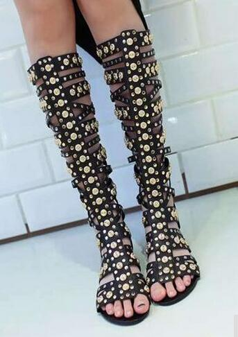 96ec79df4a83ba ... Gold Rivets Studs Women Straps Cage Sandal Boots Sexy Open Toe Ladies  Gladiator Boots Flat Boots