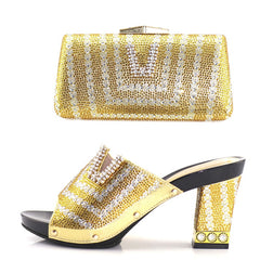 Gold african aso ebi wedding party 3.7 inches heel rhinestones slipper shoes with matching clutches bag gold shoes bag SB8136-2