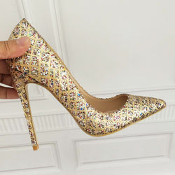 Gold glitter shoes high heels 12cm / 10cm / 8cm heel sexy size 33 34 banquet high heels