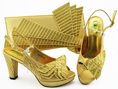 Gold italian high heel shoes and bag matching set fashion african aso ebi shoes sandal and clutches bag shoes and bag SB8349-4