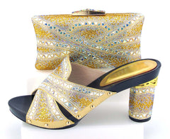Gold nice design clutches bag matching women shoes slippers for african aso ebi party free shipping 2017 shoes and bag BCSB0039