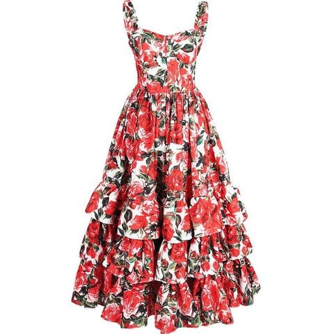 Image of GoodliShowsi Fashion Designer Runway Sexy Backless Floral Print Cascading Ruffles Ball Gown Dress Summer Women Strap Beach Dress