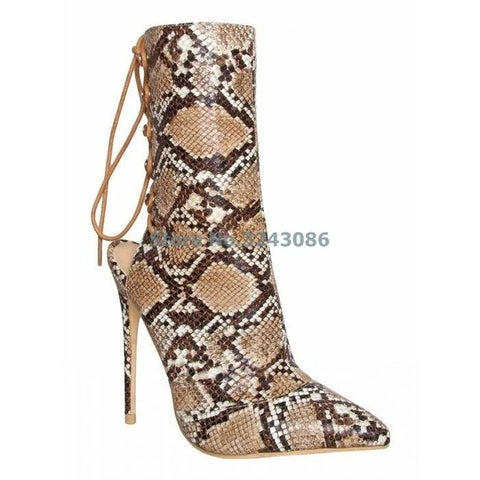 d821f60a85ed ... Image of Gorgeous Pointed Toe Thin High Heel Boots crocodile print Back  Lace Up Fastening Stiletto ...
