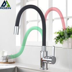 Green Black Pipe Kitchen Faucets Hot And Cold Water Faucets Chrome Basin Sink Tap Mixers Kitchen Faucet Deck Mounted
