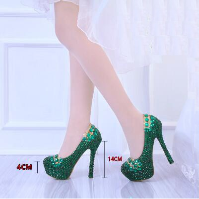 7b503b196c0 ... Green High Heels Platform Pumps Women Wedding Shoes Diamond Pumps Sexy  Designer Women Bridal Shoes Sequins