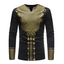GuyuEra 2018 New Fashion African dashiki style hot African wind long sleeve V-neck casual T-shirt black and white M-3XL