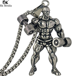 Gym Fitness Men Necklace Gold/Silver Stainless Steel Chain Bodybuilding Sports Charm Pendant & Necklaces for Men Jewelry WW-158