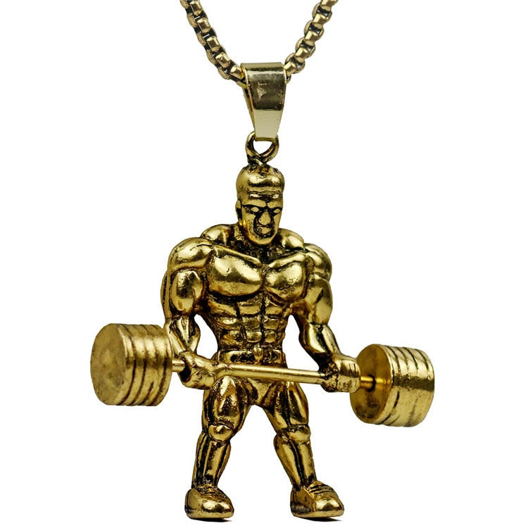 61c8e407eba Gym Fitness Men Necklace Gold/Silver Stainless Steel Chain Bodybuilding Sports  Charm Pendant &. Hover to zoom