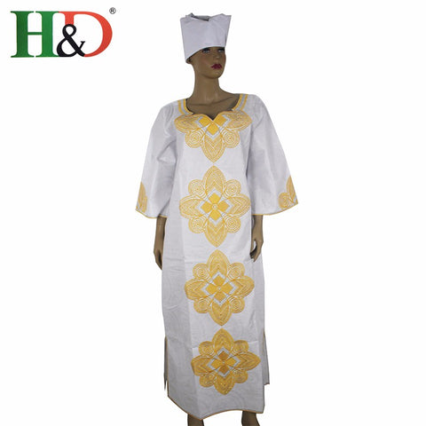 H&D New Fashion African bazin riche dress for women Cotton 100% Cloth With Gele Georges Kaftan Lady Long Dress S2427 1