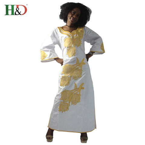 H&D New Fashion African bazin riche dress for women Cotton 100% Cloth With Gele Georges Kaftan Lady Long Dress S2427