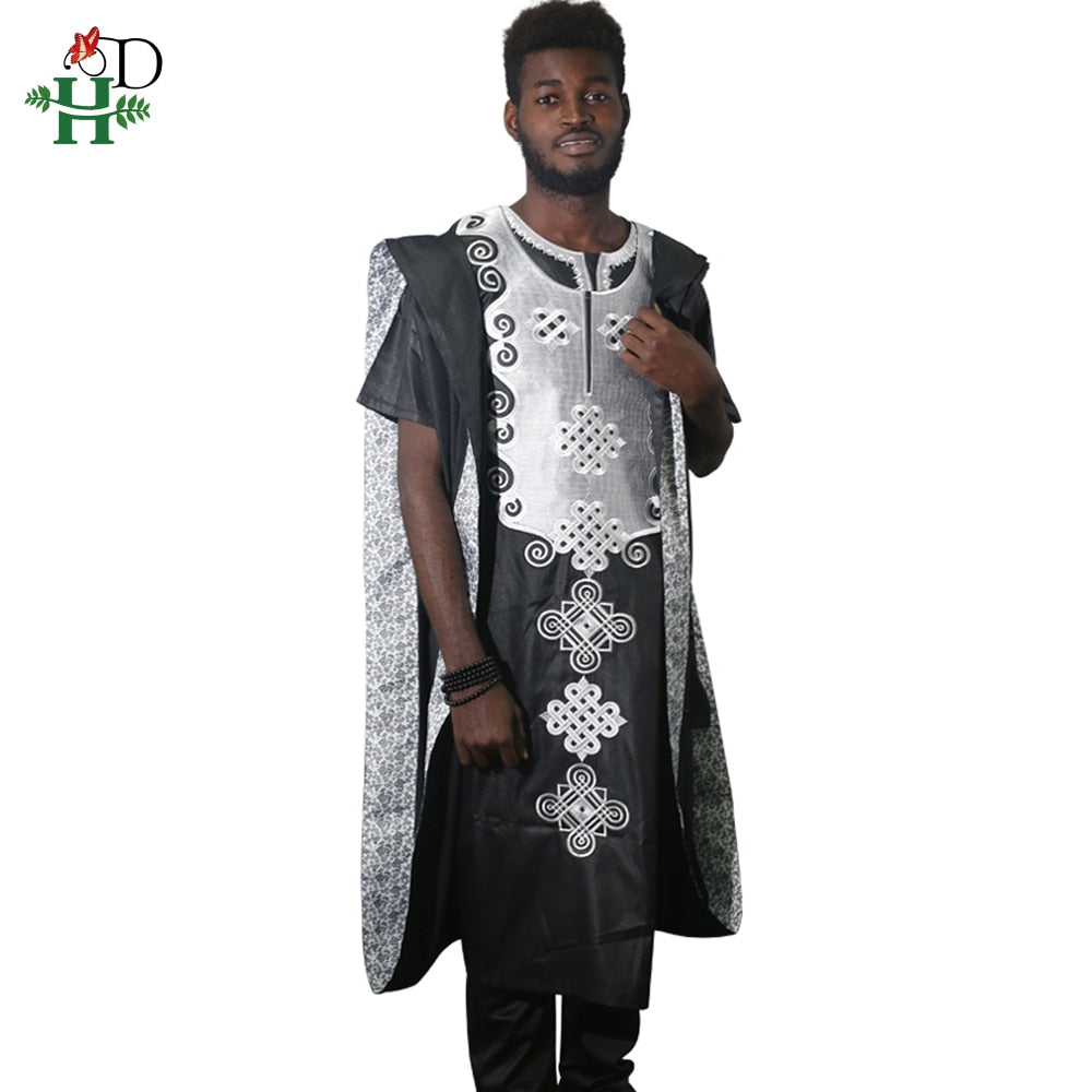 def4f8a4e108c H&D africa men dashiki 2019 new bazin riche suits tops shirt pant 3 pieces  set embroidery black white african mens clothing robe
