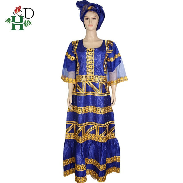 H&D plus size dashiki dresses african dresses for women with ruffles bazin  riche traditional long dress women\'s clothing headtie