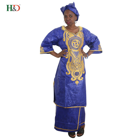H&D robe african traditional femme 2018 bazin dress for women in clothing embroidered pattern skirt two piece set jupe africaine