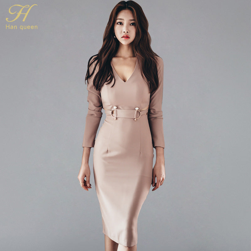 3c2bfda9baf67 H Han Queen Autumn Women Sexy Dew belly Pink Bodycon Pencil Sheath ...