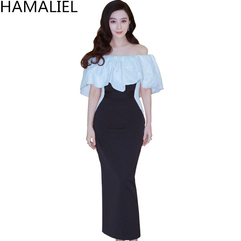 4f887ccc69c HAMALIEL Salsh Neck Sheath Long Party Women Dress 2018 Runway Black White  Patchwork Ruffles Bodycon Off. Hover to zoom