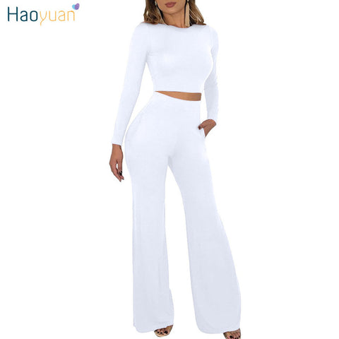 HAOYUAN  2 Piece Outfits for Women Clothes Matching Set Crop Top and Boot Cut Pant Suits Fall Winter Sexy Club Two Piece Sets