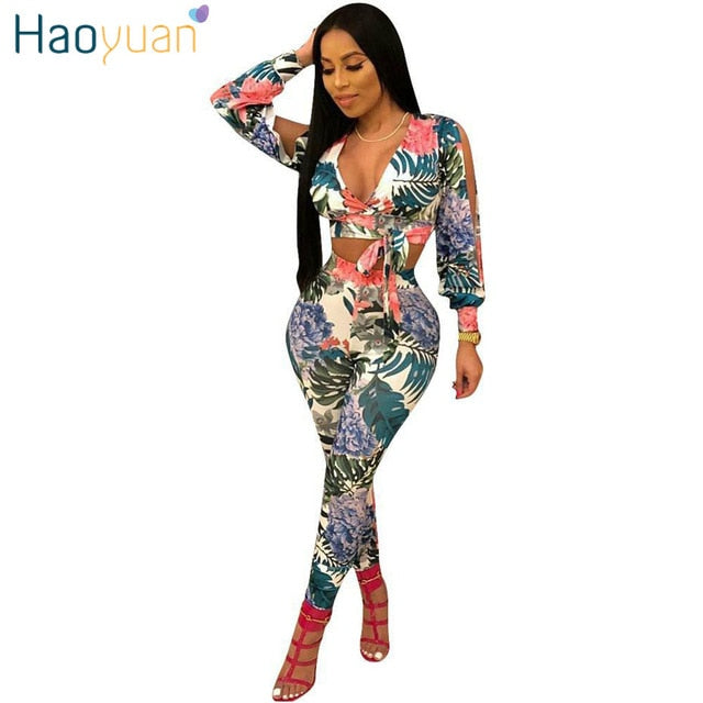 ... HAOYUAN 2 Piece Set Women 2018 New Sexy Summer Outfit Long Sleeve Tops+Bodycon  Pants dd5a5137af63
