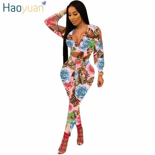HAOYUAN 2 Piece Set Women 2018 New Sexy Summer Outfit Long Sleeve Tops+Bodycon Pants Sweat Suit Two Piece Set Casual Tracksuit