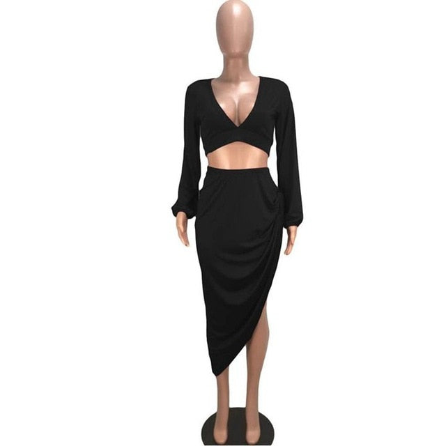 a94bdd4a7 HAOYUAN 2 Piece Set Women Long Sleeve Crop Top and Midi Skirt Autumn Winter  Sexy Club. Hover to zoom