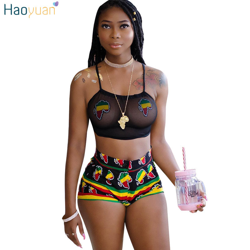 ebd9c2a34038 HAOYUAN 2 Two Piece Set Women 2018 Summer Autumn Print Sexy Club Halter See  Through Black ...