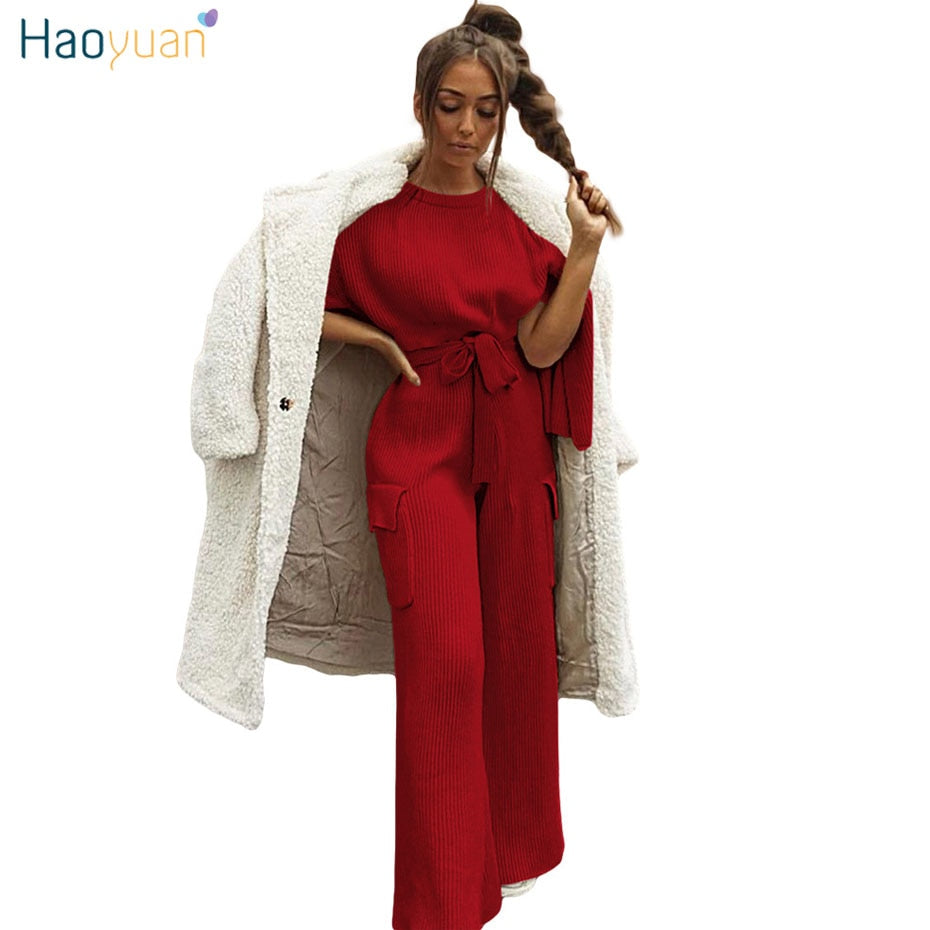883d2178332 HAOYUAN 2 Two Piece Women Set Clothes Autumn Winter Club Outfits Knit  Sweater Crop Tops+