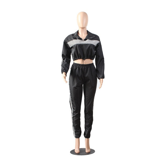 bd508e465cea HAOYUAN 2019 Reflective Tracksuit 2 Two Piece Set Women Clothes Black Crop  Top+Pants Sweat. Hover to zoom