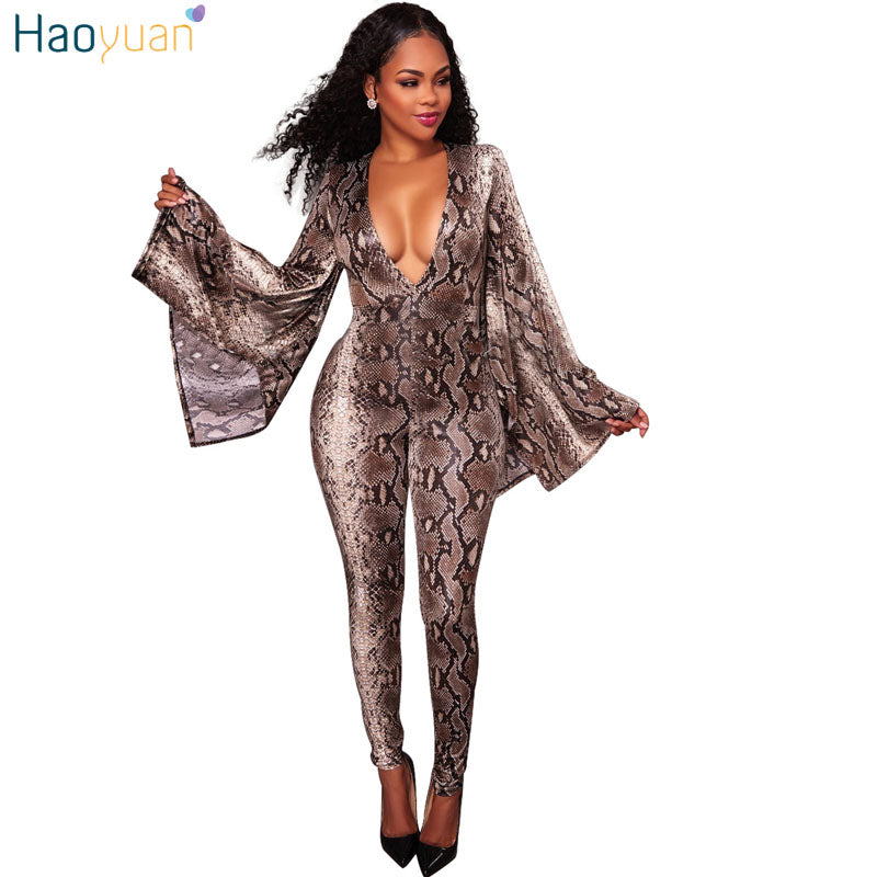 latest collection release date: official site HAOYUAN Autumn Elegant Snake Skin Print Jumpsuits Sexy Deep V Flare Long  Sleeve Overalls Club Skinny Rompers Womens Jumpsuits