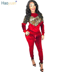 HAOYUAN Autumn Winter Women Two Piece Set Velvet Sequin Tops and Pant Suit Casual Outfits 2 Piece Matching Sets Velour Tracksuit