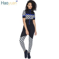 ff66e227ed HAOYUAN Checkerboard Rompers Womens Jumpsuit Short Sleeve Plaid Front Zip  Long Pants Summer Overalls One Piece ...