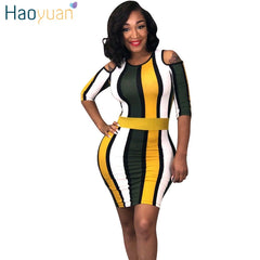 HAOYUAN Cold Shoulder Striped Bodycon Dress Women Vestidos Sundress Sexy  Club Wear Summer Dresses Package Hip ... 23ceb1028