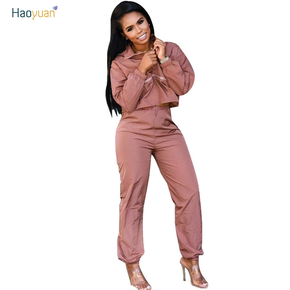 4dd927e8083 HAOYUAN Fall Winter Tracksuit Women Two Piece Set Long Sleeve Top and Pant  Sweat Suit Sexy