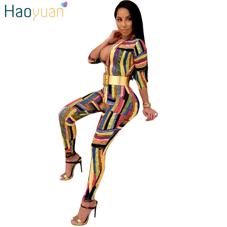 c7ae435216d7 HAOYUAN Graffiti Striped Sexy Jumpsuit Club Front Zip Deep-V Full Bodysuit  Casual Overalls Half ...