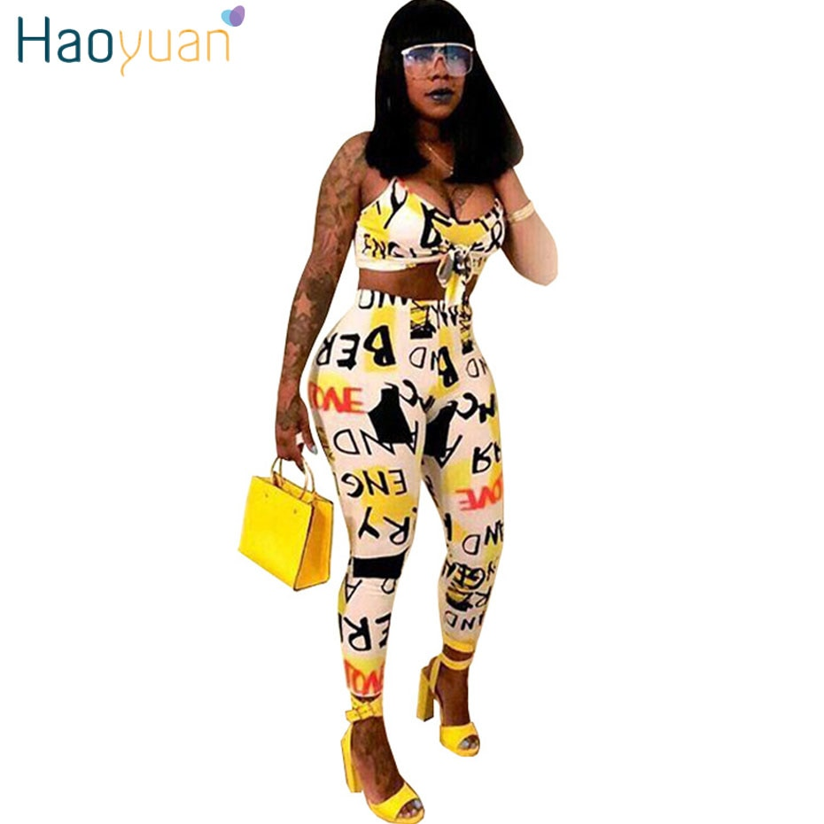 434bc84da ... Two Piece Set Summer Outfits Crop Tops+Bodycon Pants Suit. Hover to zoom