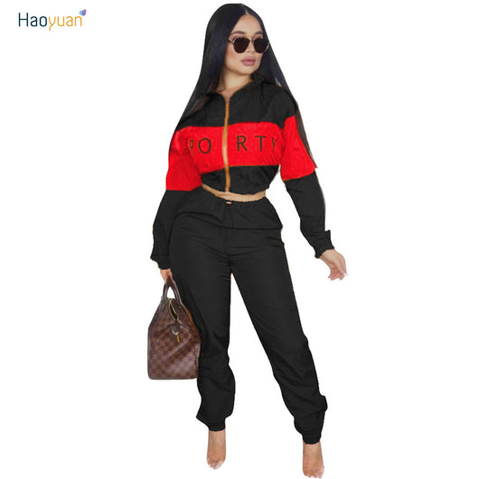 Women African Print Zipper Jacket Coat and Jogging Pants Set 2 Piece Outfits Tracksuits
