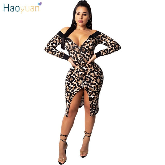 4ce62c0830 ... Off Shoulder Long Sleeve Autumn Dress Women Clothes Front Zip Sexy  Leopard Dress Casual Elegant Bodycon ...
