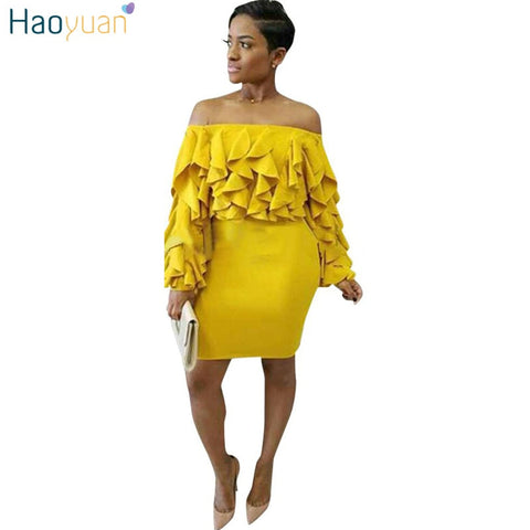 Off Shoulder Long Sleeve Party Dress Ruffle Yellow Mini Robe Sexy Women Dress 2018 Autumn Spring Bodycon Ladies Dresses