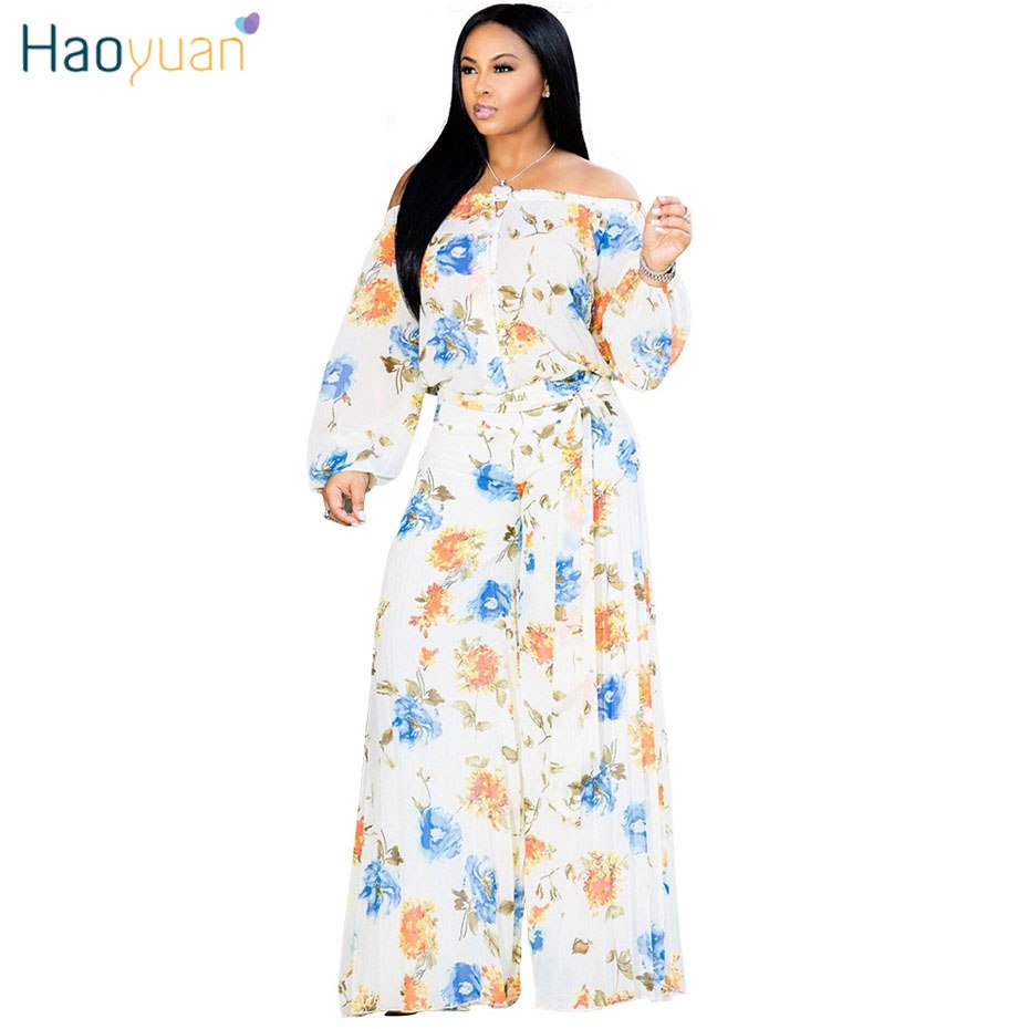 566f0bb6861 ... HAOYUAN Off Shoulder Long Sleeve Sexy Jumpsuit 2018 Fall Overalls  Streetwear Plus Size Loose One Piece ...