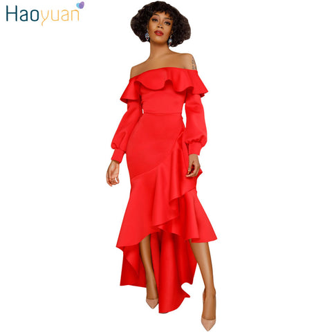 HAOYUAN Off Shoulder Mermaid Maxi Dress Women Autumn Spring Robe Long Sleeve Sexy Dress Ruffle Irregular Elegant Party Dresses