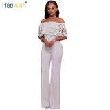 HAOYUAN Off Shoulder Sexy Lace Jumpsuits for Women Slim High Waist Ladies Elegant Summer Wide Leg Jumpsuits Rompers Overalls