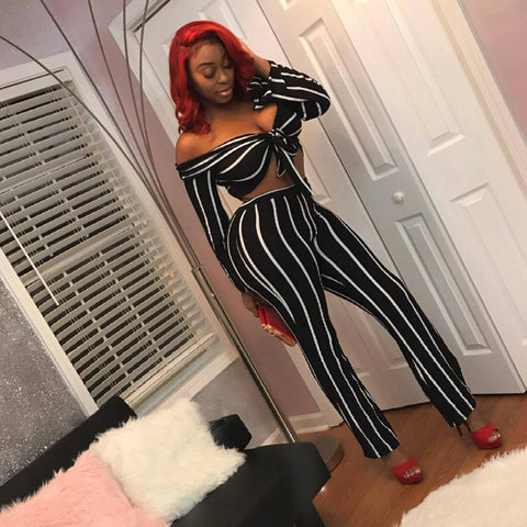66472c4b6144 ... Image of HAOYUAN Off Shoulder Striped Sexy Jumpsuits Two Piece Set Long  Sleeve Bodysuit Wide Leg ...