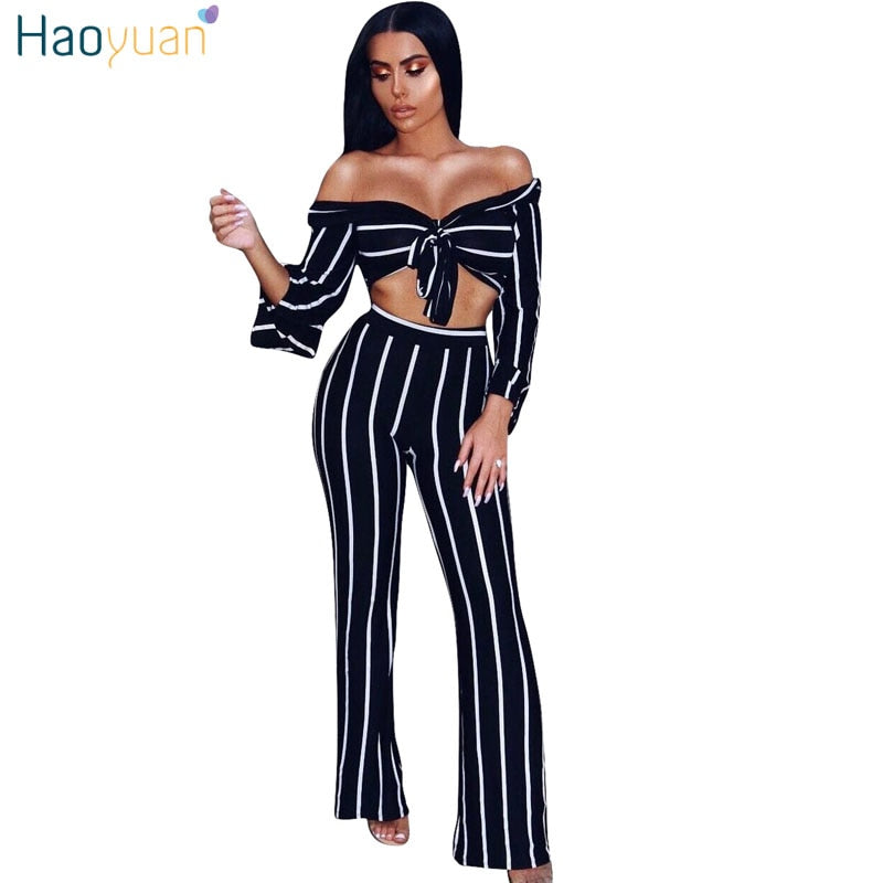 5d003e2cd6a9 Hover to zoom · HAOYUAN Off Shoulder Striped Sexy Jumpsuits Two Piece Set Long  Sleeve ...