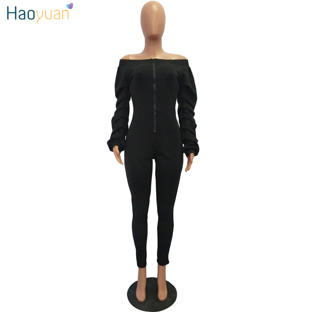 26299f23fde ... HAOYUAN One Piece Rompers Womens Jumpsuit Plus Size Overalls Layered  Ruched Streetwear Off Shoulder Long Sleeve ...