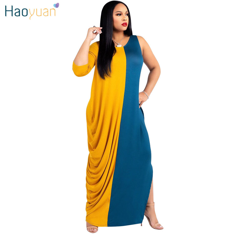8ca297a66102 Hover to zoom · HAOYUAN Plus Size Casual Loose Long Maxi Dress Women  Clothes Fall 2018 Autumn Dress Stitching Vestidos