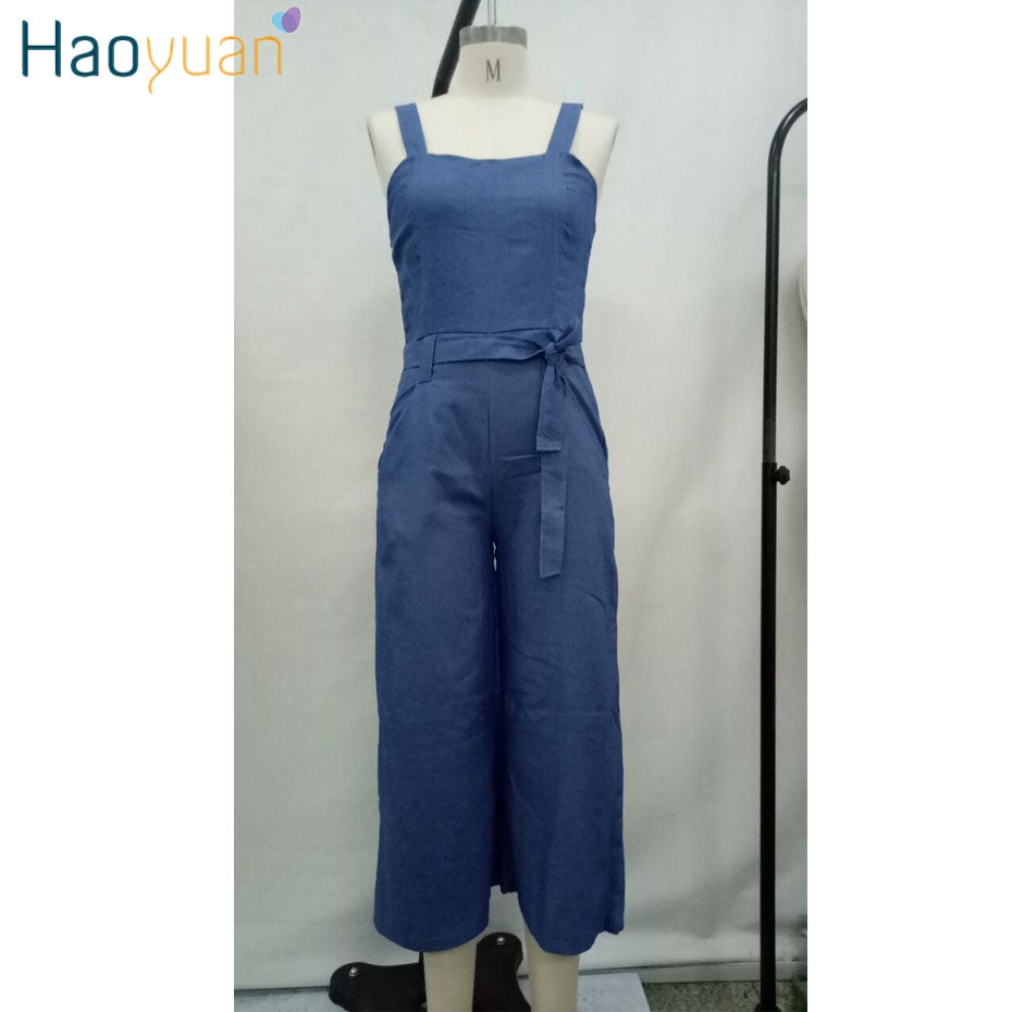 4f87aa6194e ... HAOYUAN Plus Size Denim Jumpsuit Casual Loose One Piece Summer Overalls  Streetwear Sexy Wide Leg Jeans ...
