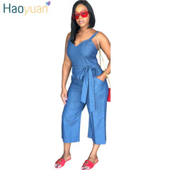dd8029ff97ee HAOYUAN Plus Size Denim Jumpsuit Casual Loose One Piece Summer Overalls  Streetwear Sexy Wide Leg Jeans ...