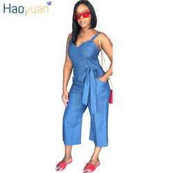 HAOYUAN Plus Size Denim Jumpsuit Casual Loose One Piece Summer Overalls Streetwear Sexy Wide Leg Jeans Rompers Womens Jumpsuit
